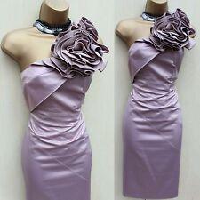 Karen Millen Mink Satin Rose Corsage One Shoulder Wiggle Cocktail Dress UK 14