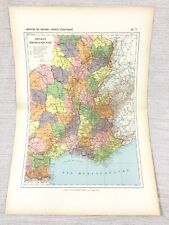 1888 Antique Map of Central France Provinces Departments FRENCH 19th Century