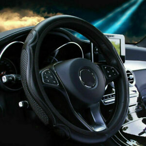 1pc Black Car Steering Wheel Cover Leather Breathable Anti-slip Car Accessories
