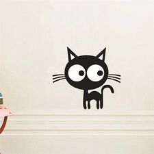 Cartoon Big Eye Cat Wall Sticker Vinyl Toilet Decal Home Mural Decor Removable