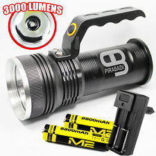 SWAT POLICE 500M LAMPE TORCHE 3000 LUMENS 1 LED FLASHLIGHT + 2 PILES + CHARGEUR