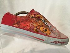 Ed Hardy Pink Orange Slip On Laceless Canvas Skull Koi Tattoo Sneakers Womens 8