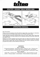 Triton Router-Jigsaw Table Series 2000 RTA 200 Operating Manual
