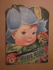 1950 Children's Blue Boy's Coloring Book Merrill Publishers # 4867-10