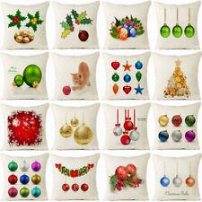 """18"""" Christmas Ball Cotton Linen Cushion Cover Pillow case Sofa Home Decor"""