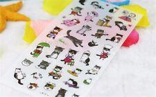 Transparent PVC stickers cute black and white cat photo album decorative sticker