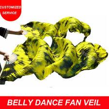 New arrivals 1 pair tie dyed fan veils hand maded belly dance silk fan veil