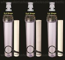 "Whole House Water Filter Purifier Sediment & CTO Carbon 3 High Flow 20"" Systems"