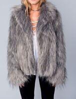 Show Me Your MUMU Grey Faux Fur Jacket Medium Boho Festival Sexy
