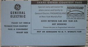 Walt Disney GE Share Owner Courtesy Pass Progressland 1964 World's Fair