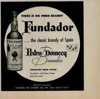 1956 Fundador Classic Brandy of Spain Pedro Domecq Vintage Print Ad 2600
