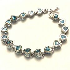 GB Aquamarine hearts silver bracelet (white gold gf) 180 x 8mm BOXED Plum UK
