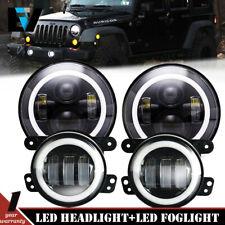 Fit For 2007-2018 Jeep Wrangler JK LED Headlights + Fog Lights Combo Kit