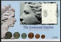 1999 Embossed Machin Illus. F.D.C. With Decimal Coin Set.