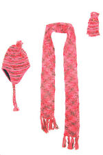 MAGICAL PINK, KHAKI & GOLD THREAD WOOL MIX SCARF, HAT WITH TASSEL & GLOVE (MS1)