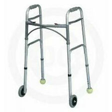 "Deluxe Two Button Folding Walker With 5"" Wheels & Tennis Ball Glides"
