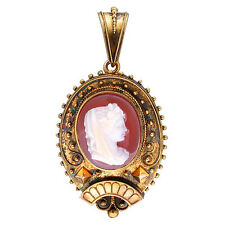 Vintage 1830's Victorian Oval Hard Stone Carnelian Cameo 14k Gold Pin Pendant