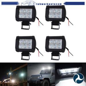 4pcs 4INCH 18W LED WORK LIGHT BAR DRIVING Flood BEAM SUV ATV  4-lamps