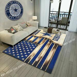 Dallas Cowboy Logo American Flag Area Rug, Anti Skid Carpet, Gift Home Decor