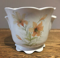 Vintage M&S Plant Pot. Tiger Lily. Scalloped Edges. 11.5 Cm Tall