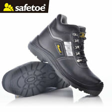 Safetoe Men Safety Work Shoes Boots Steel Toe Reflective Water-Resistant Leather