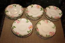 """Vintage Franciscan Desert Rose Saucer Plates-19 Pieces-Pink Roses-5 & 7/8"""" Wide"""