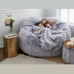 7ft Giant Big Soft Fur Bean Bag Portable Sofa Bed Bag Cover Luxury Living Room
