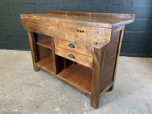 Vintage Carpenters Workbench with Two Drawers. Kitchen Prep Bench. Console Table
