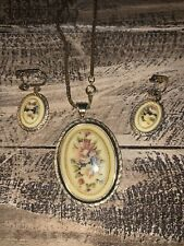 Vintage Oval Floral Costume Jewelry Set, necklace & Screw Back earrings.