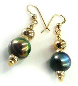 Natural Black Peacock Tahitian Pearl 14k Gold Filled Dangle Earrings