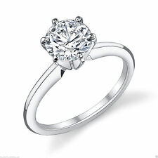 2.98 ct Brilliant Cut Solitaire Diamond Engagement Ring Solid 14kt White Gold