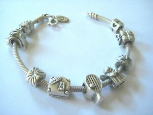 Pandora Sterling Silver Lobster Claw Clasp Bracelet w/9 Charms