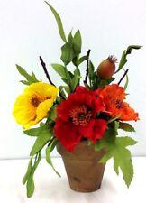 "Poppy Flower/Pods in Clay Pot~14"" T~Silk/Artificial,Foam Leaves. Multi Color"