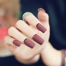 2017 New Brown Matte Metal Manicure French Long Design Full Cover False Nails