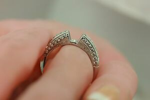Platinum .51ctw round diamond engagement ring semi mount engraved milgraine NEW