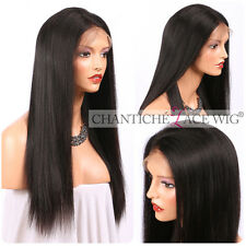 Human Hair Full/Front Lace Wig Brazilian Remy Light Yaki Wigs African American