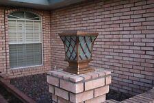 Wireless Solar Pillar LED Light Bronze Copper Finish Fence Post Lamp Landscape