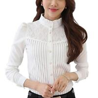Women's Vintage Collared Pleated Button Down Shirt Long Sleeve Lace Blouse