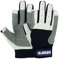 SAILING GLOVES AMARA LEATHER GREY NAVY YACHTING BOATING ROPE GLOVES F/F
