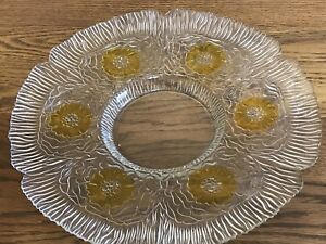 """Acoroc Clear Glass Platter Chip Dip Tray with STUNNING YELLOW Flowers 13.5"""""""