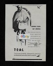 TEAL AIR NEW ZEALAND 1949 SOLENT FLYING BOAT COME RAIN OR SHINE MAIL ARRIVES AD
