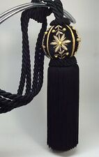4 Chelsea Collection Curtain Tie Backs Black Tassel Cord Gold Flower Beading NOS
