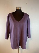 Synergy Organic Clothing Women Top L Large Purple Knit Deep V-Neck Dolman Sleeve