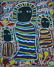 HAITIAN FOLK ART PAINTING BY FAMOUS ARTIST LOUISIANE SAINT FLEURANT HAITI 24X20