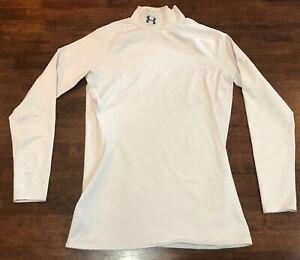 Under Armour Women's Coldgear Moc Turtleneck Shirt White Medium Base Layer Warm