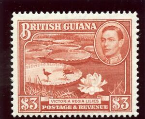 British Guiana 1952 KGVI $3 red-brown (p14x13) MLH. SG 319b. Sc 241a.