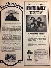 The Osmonds, Osmond Brothers, Fan Club, Full Page Vintage Promotional Ad