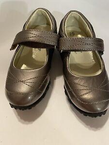 Pediped FLEX Toddler Girls Mary Jane Metallic Taupe Brown EU 25 US 9