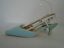 JACQUES VERT Duck Egg Blue Fabric Slingback Sandals Shoes Size 6 (39) Heels 2.5""