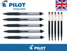 5 X Pilot Hi-Tecpoint V5 RT Tinta Líquida Retráctil Rollerball Negro Con Recarga